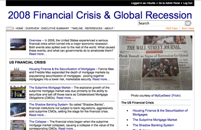 Steve Greenlaw's Financial Crisis Website