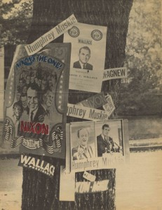 Election posters image from the Young Republicans Scrapbook, 1968-1969. Special Collections & University Archives