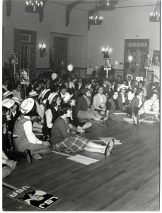 Students attend a political rally in the Lee Hall Ballroom for the 1964 Barry Goldwater vs. Lyndon Johnson election.
