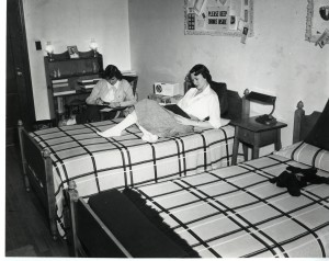 Students studying in dorm room, 1950